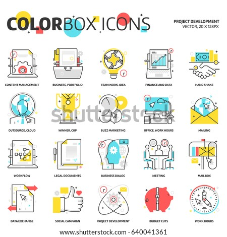 Color box icons, project development backgrounds and graphics. The illustration is colorful, flat, vector, pixel perfect, suitable for web and print. Linear stokes and fills.