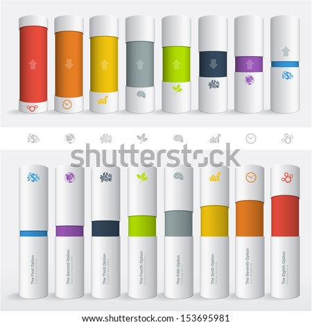 Color boxes. Infographic chart vector design element set. - stock vector