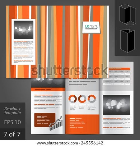 Color brochure template design with with red and gray lines. Cover layout