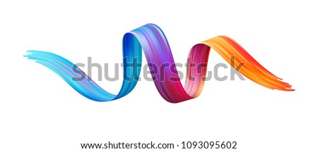 Color brushstroke oil or acrylic paint design element. Vector illustration EPS10 #1093095602