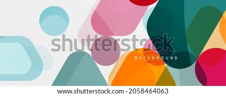 Color bubbles and rounded geometric shapes on white. Vector geometric minimal abstract background for wallpaper, banner, background, landing page