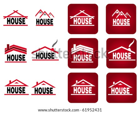 Color building and house icon on the white background