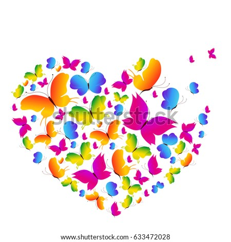 color butterflies heart