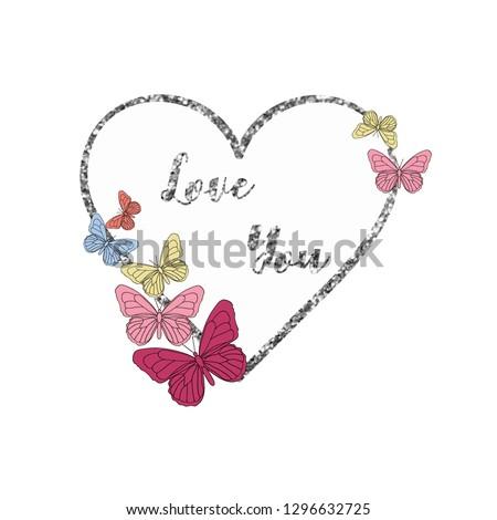 color butterfly glitter heart girl tee illustration art vector