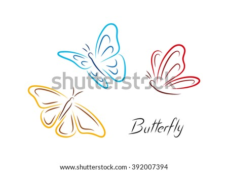 color butterfly three colored