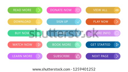 Color buttons flat design. Web and ui application color button icon for modern website. Buttons set with different actions. Vector icons isolated on white background #1259401252