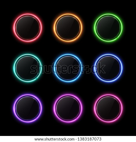 Color buttons set. Neon circle with light effect. Glossy glass texture banner with glare on black background. Round glowing sign for web interface infographic internet site report. Vector illustration