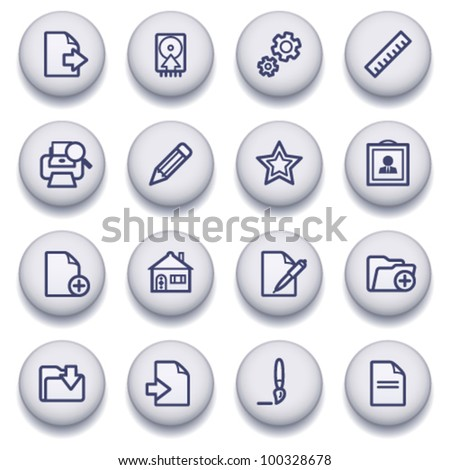 Color buttons with contour icons 10 - stock vector
