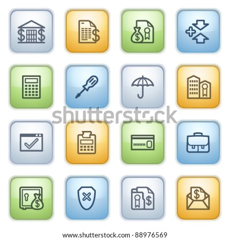 Color buttons with contour icons 6 - stock vector