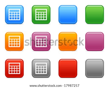 Color buttons with table icon  Table Icon Vector