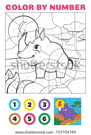 Color by number. Educational game for kids. Cute Cartoon Rhino and African Savanna EPS10
