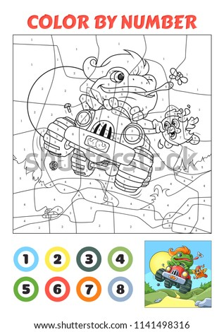 Color by Number is an educational game for children. Frog Racer. Two versions. Coloring book page with example.