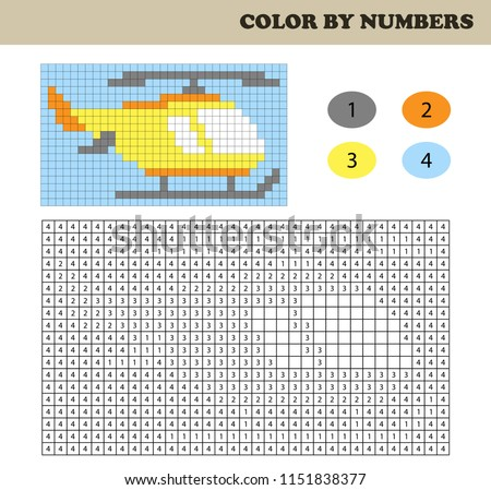 Color by numbers, education game for children. Coloring book with numbered squares. Drawing kids activity. Helicopter