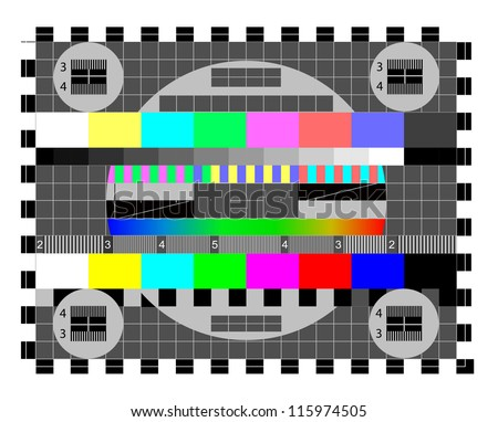 Color card. Test TV screen, animated television test.