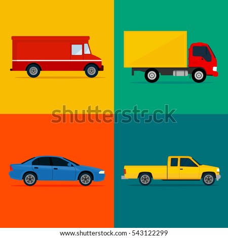 Color cars icon set. Vehicles in flat design. Vector illustration.