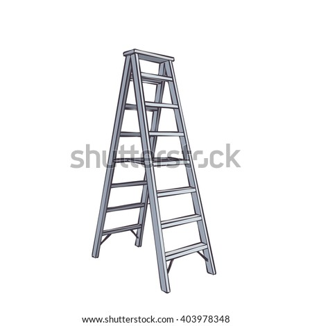 Color Cartoon Double Ladder From Steel.  Illustration Isolated On White #403978348