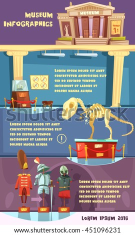 Color cartoon infographic with title description room and exhibits of museum vector illustration