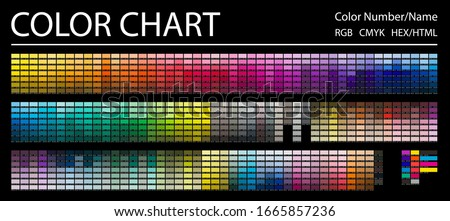 Color Chart. Print Test Page. Color Numbers or Names. RGB, CMYK, HEX HTML codes. Vector color palette.