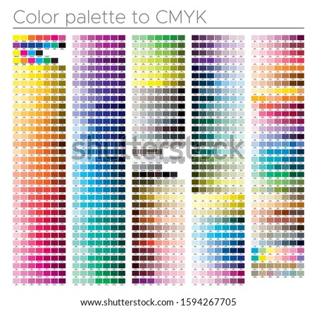 Color chart. Print test page. Process color. Illustration CMYK colors for print. Vector color palette