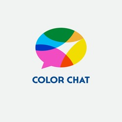 Color chat logo. Language school logo. Conversational club icon. Chat logo. Community emblem. Multi-colored overlay comic bubble.