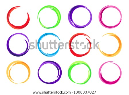 Color circles. Colorful round logo frame, circle swirl wave and vivid oval abstract swirling energy frames. Flowchart circles, interface success sphere button. Vector illustration isolated symbols set