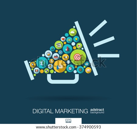 Color circles, flat icons in a speaker shape: digital marketing, social media, network, computer concept. Abstract background with connected objects in integrated group of element. Vector illustration