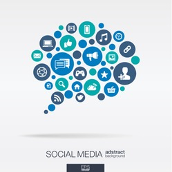 Color circles, flat icons in a speech bubble shape: technology, social media, network, computer concept. Abstract background with connected objects in integrated group of elements. Vector illustration