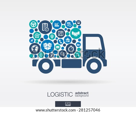 Color circles, flat icons in a truck shape: distribution, delivery, service, shipping, logistic, transport, market concepts. Abstract background with connected objects. Vector illustration.