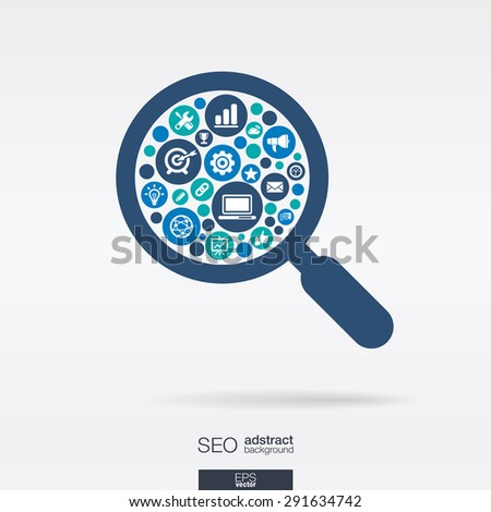 Color circles, flat icons in an magnifier glass shape: technology, SEO, network, digital, analytics, data and market concepts. Abstract background with connected objects in group. Vector illustration.
