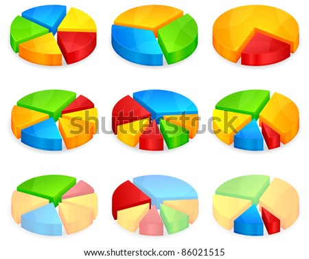 Color circular diagrams with different size pieces, vector illustration