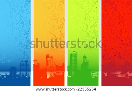 Color city illustration - stock vector