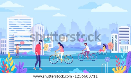 Color cityscape ecology clean vector illustration. People using mobile internet tehnology