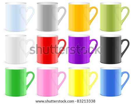 Color coffee cups on white background. Vector illustration.