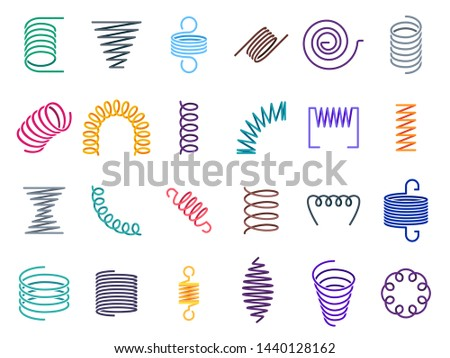 Color coil spirals. Metal coils, flexible wire springs and spiral spring. Vape coils, industrial flexibly absorber steel shrunk spirals equipment. Colorful isolated vector icons set