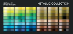 Color collection. Metallic blue, green, yellow, olive, brown, bronze colorful palette set. Gradient background template for screen, mobile, banner, label, tag, packaging, print.