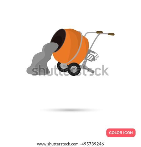 color concrete mixer flat icon