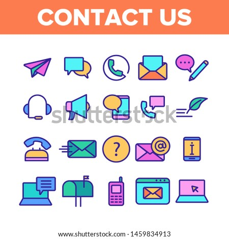Color Contact Us, Call Center Vector Linear Icons Set. Customer Support Service, Contact Us Outline Cliparts. Helpline, Phone Tech Desk Pictograms Collection. Mailing And Chatting Illustration