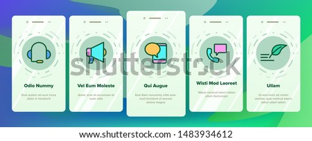 Color Contact Us, Call Center Vector Onboarding Mobile App Page Screen. Customer Support Service, Contact Us Outline Cliparts. Helpline, Phone Tech Desk. Mailing And Chatting Illustration