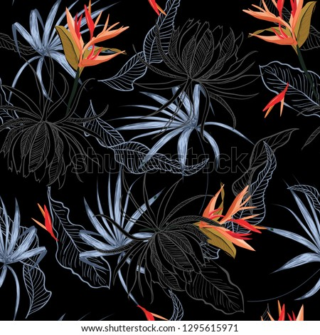 Color contrast bird of paradise and exotic flower and leaves Seamless Pattern line hand drawn style Isolated on black color. Botanical Floral Decoration Texture. Design for Fabric Print, Wallpaper