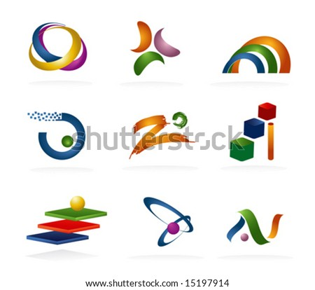 Color 3d Abstract Icons - stock vector