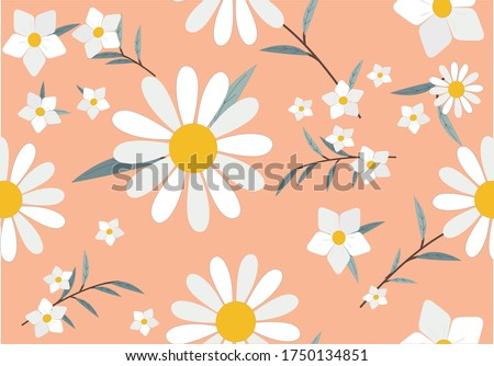 color daisy pattern design hand drawn ditsy flower design hand drawn  spring daisy flower vector fabric towel design pattern summer print  ditsy flower  stationery,towel,linens,