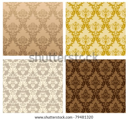 Color Damask Seamless Vector Pattern Set.  Elegant Design in Royal  Baroque Style Background Texture. Floral and Swirl Element.  Ideal for Textile Print and Wallpapers.