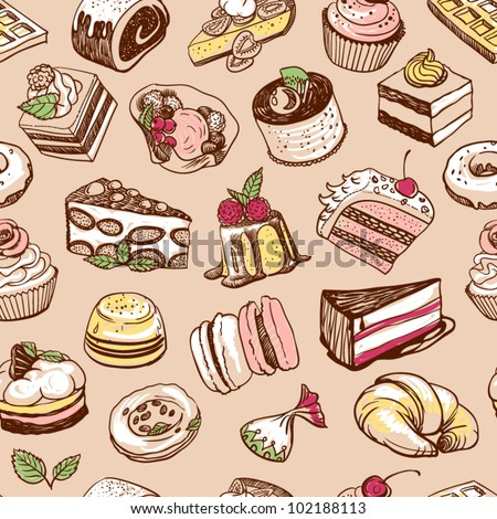 Color desserts seamless pattern