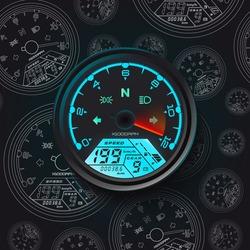 Color detail with the speedometer of a motorcycle. Speedometer Odometer motorcycle Universal LCD-Digital Tachometer digital gauge.