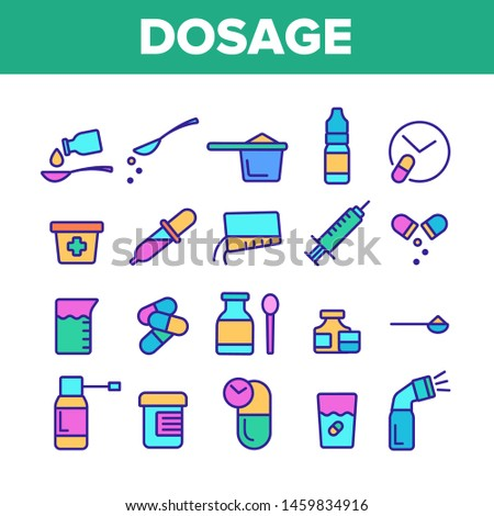 Color Dosage, Dosing Drugs Vector Linear Icons Set. Pharmacological Medications Dosage Outline Cliparts. Disease Treatment Prescription Pictograms Collection. Medical Therapy Illustration Stockfoto ©