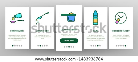 Color Dosage, Dosing Drugs Vector Onboarding Mobile App Page Screen. Pharmacological Medications Dosage Outline Cliparts. Disease Treatment Prescription. Medical Therapy Illustration Stockfoto ©