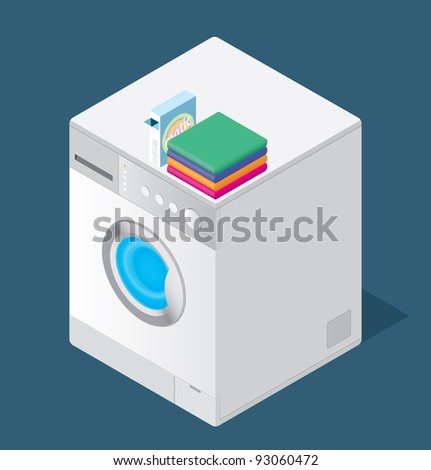 Color drawing of a washing machine on the floor