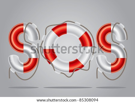 Color drawing of the floor above the lifebuoy - stock vector