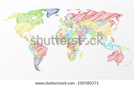 Color drawing political world map on a notepad sheet. Vector illustration.