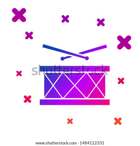 Color Drum with drum sticks icon isolated on white background. Music sign. Musical instrument symbol. Gradient random dynamic shapes. Vector Illustration